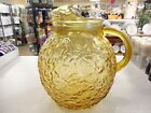 Vintage Anchor Hocking HONEY GOLD AMBEER LIDO MILANO BALL JUG PITCHER EXCELLENT