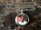 ROGER MOORE (JAMES BOND) CHROME POCKET WATCH WITH CHAIN (NEW)
