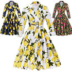 Womens 3/4 Sleeve Fruit Print Vintage Cocktail Party Dress Tea 50s Swing Pin Up