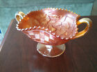 Flowers Handled Carnival Glass Dish