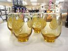 Vintage Libbey Sunburst Daisy Amber Brown Footed Tumblers Set of 4 Beautiful