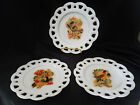 FIRE KING LACE EDGE SALAD PLATES GAY FAD DISTLEFINK TYPE DECALS SET OF 3