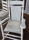Victorian Eastlake Porch Rocker with Woven Cane Seat and Backing