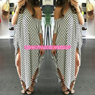 Women Striped Batwing Sleeve Evening Party Cocktail Long Maxi Dress Puls Size