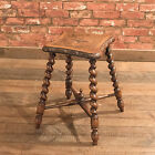 Antique Turned Stool, English Carved Oak, Victorian Seat, Barley Twist, c.1880