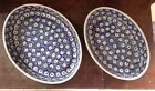 Vintage Polish Pottery Set of  2 Oval Casseroles Peacock Eye blue brown