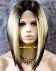 Straight Bob Ombre Brown Blonde Mix Lace Front Full Wig Heat Ok Hair Piece