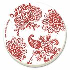 Corelle Red Paisley Absorbent Stone Coaster, 4-Pack