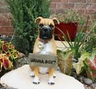 1325 Tall Large Fawn Boxer Pet Dog Garden Greeter Statue With Jingle Collar