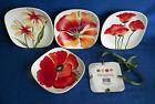 FITZ AND FLOYD In Bloom SNACK PLATES 4 Pc 6 1/8