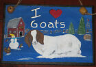 BOER GOAT Wood Sign Christmas Winter Hand Painted Barn Snowman Trees Chickens