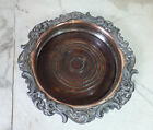 Antique Victorian Ornate Pewter Copper Silver Plate Wood Wine Champagne Coaster