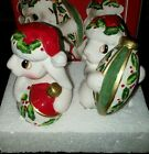 Fitz & Floyd Christmas Bunny Bloom Salt and Pepper Shaker Bunnies Rabbit MIB