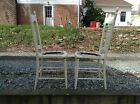 PICK UP ONLY Antique Vintage Wood Wooden Chairs Carved Caned Rush Seat Set of 2