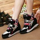 Womens High Top Casual Sneakers Wedge Heels Shoes Buckles Round Toe Floral A355