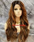 Long Beach Wavy Ombre Golden Brown Mix Lace Front Full Wig Heat Ok Hair Piece