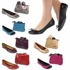 Classic Sidekicks Leather  Energy Foldable Ballerina Flats With Carrying POUCH