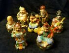 Antique Kutani Porcelain Seven Immortals Signed Japanese Moriage Figurines lucky