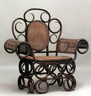 Austrian Bentwood (19th Cent) unusual scroll design roll arm chair with cane pan