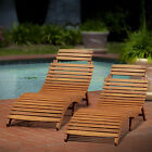 Patio Furniture Clearance Outdoor Wood Chaise Lounge Home Garden Pool Deck