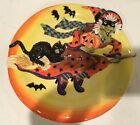 Fitz and Floyd Halloween Witch Hazel Canape Plate Witch Cat Pumpkin Shiny