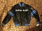 New Black NFL Super Bowl 45 year anniversary leather coat size L Soft Clean
