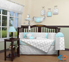 14PCS Blue  Gray Chevron Baby Nursery CRIB BEDDING SET Including Lamp SHADE