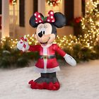 5 Gemmy Inflatable Disney Minnie Mouse with Candy Cane Christmas Yard Decor
