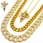 MENS ICED OUT 3 CHAINS SET MINI ANGEL GOLD FINISH MIAMI CUBAN LINK NECKLACES