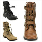 Brand New Womens Fashion Military Buckle Strap Lace Up Ankle Combat Boots