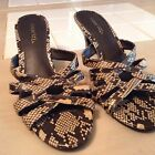 Ladies Size 8.5 Snake Print High Heels Slides Sandals Shoes Pumps Cabrizi Euc