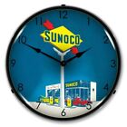 Vintage Style Sunoco Gas Station LED  Lighted Backlit Advertising Clock - NEW