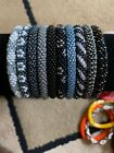10 SET Nepal Rolls Glass Beaded bracelet crochet handmade bead bangle USA