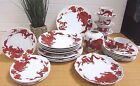 1975 STUNNING! 28 Piece Red Chinese Temple Dragon China and Vase by Fitz