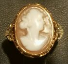 White  Gold Shell Cameo Ring Sz. 6.25