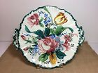 Vintage Floral Bouquet Handled Serving or Display Plate ~Hand Painted~ Italy
