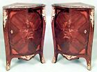 Pair of French Louis XV style (19th Cent) low corner cabinets with bronze trim a