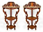 Pair of American Victorian rosewood 3 tier corner hanging etagere cabinets with