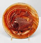 Asian Chinese Rust Agate Round Plate with a Carved Fish in Relief