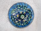 VINTAGE MILLIFIORI BLUE MOSAIC MURANO PAPERWEIGHT DOME SHAPE MINT CONDITION