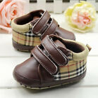 Baby Boy Girl Brown Plaid Soft Sole Crib Shoes Sneakers Size 0 6 6 12 18 Months