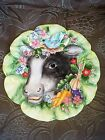 FITZ FLOYD FF CERAMIC SERVE PLATE COUNTRY CHIC EMBOSSED DAISY COW KITCHEN DECOR