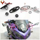 2X Motorcycle CNC Aluminum Rearview Mirror w/Fairing Adapters Holder Mount Black