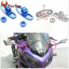 Blue Motorcycle CNC Aluminum Rearview Mirror w/Fairing Adapters Mount Holder