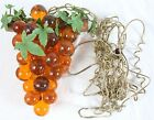 AS IS Vintage Orange Acrylic Grape Cluster Hanging Swag Lamp