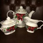 222 FIFTH Holiday Wishes Teapot Creamer Sugar Bowl w/Lid  ~NEW ~