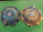 Vintage Indiana Carnival Glass Blue or Gold Ruffled Glass Plate 1075 Diameter