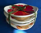 4 PC FITZ AND FLOYD In Bloom SNACK PLATES Square 6 1/8