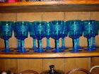 12 Fenton Colonial Blue Flower Band Goblets 1961