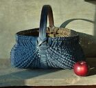 Antique Primitive Buttocks Basket Faded Blue Paint with Worn Patina